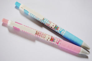 Gingham girly bunny fine-point retractable rollerball pen