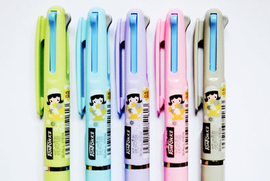 Tri-colour kawaii flower girl fine-point retractable ballpoint pen