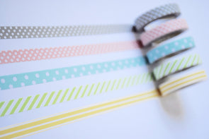 Spots and stripes subtle-stick slim washi tape set