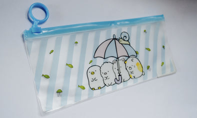 Kawaii white bear transparent pencil case pouch