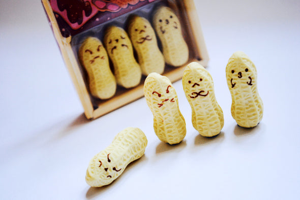 Funny-face peeking peanut eraser set