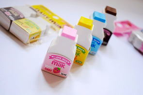 Flavoured milk bottle eraser set