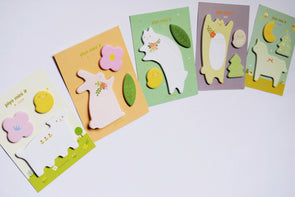 Furry friends sticky page markers and memo note set