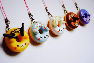 Kawaii bear-face donut phone charm