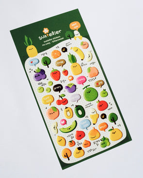 Funny fruits puffy stickers