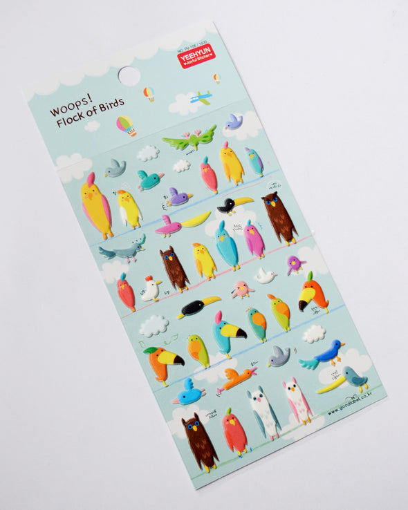 Kawaii exotic birds puffy stickers
