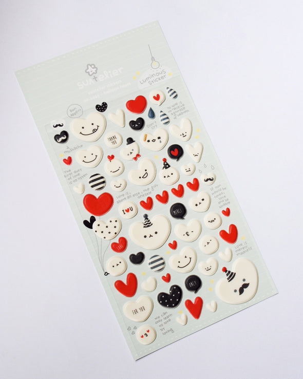 Glow-in-the-dark puffy love heart stickers