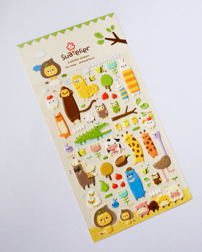 Adorable animal assortment puffy stickers