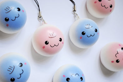Mini cute-face squishy pastel bun phone charm