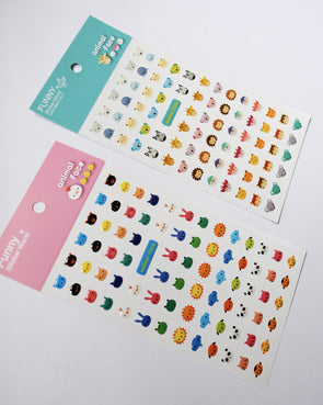 Cute animal face gel stickers