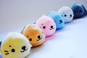 Kawaii soft seal plush keychain
