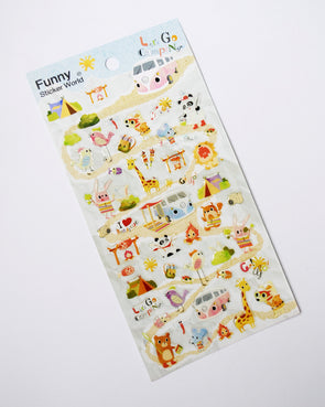 Kawaii happy campers gel stickers