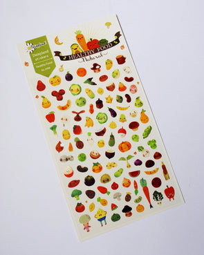 Five-a-day healthy food seal stickers