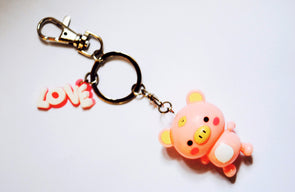 Kawaii pink pig dangly-limb keyring
