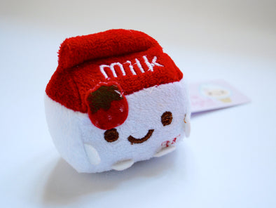Pint-sized milk carton plush phone charm