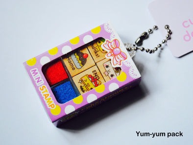 Sweet treats 4-piece mini wooden stamper set keychain