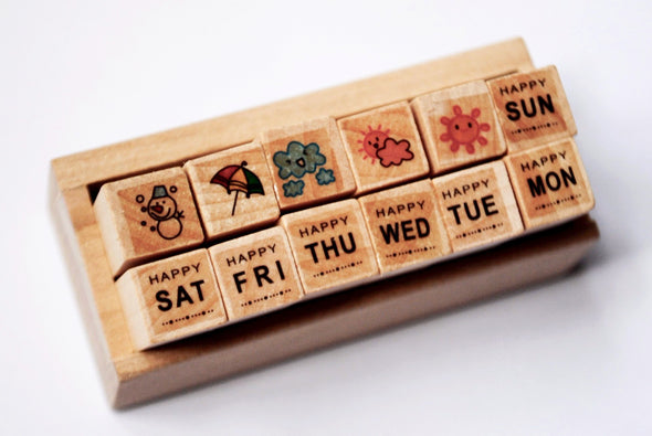 Week of weather 12-piece mini wooden stamper set