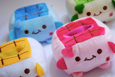 Cute tofu cube plush mobile phone holder