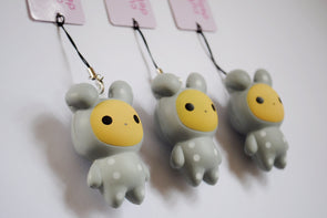 Kawaii grey rabbit squishy phone charm