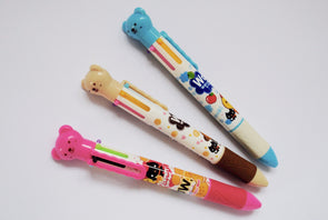 Six-colour kawaii bear retractable ballpoint pen