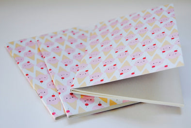 Sweet ice cream cones pocket notebook