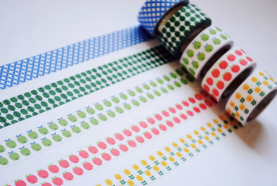 Retro pattern subtle-stick washi tape set