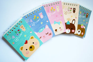 Kawaii animal mini wirebound notebook