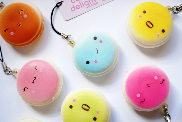Kawaii squishy macaroon scented phone charm