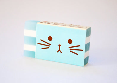 Kawaii up-close animal striped eraser
