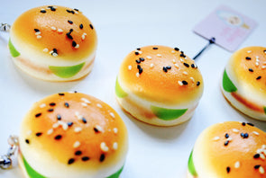 Kawaii mini hamburger scented squishy phone charm