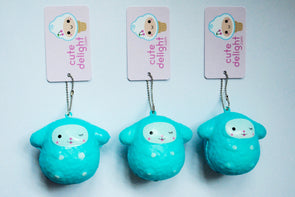 Winking blue sheep squishy keychain