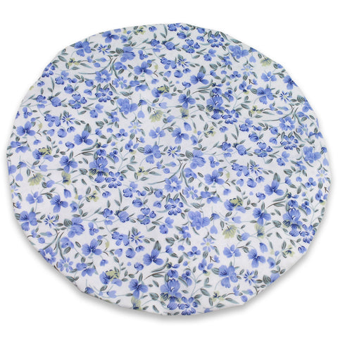 124-177 Shower Cap (Blue Flowers/White Background) - JODA Floral