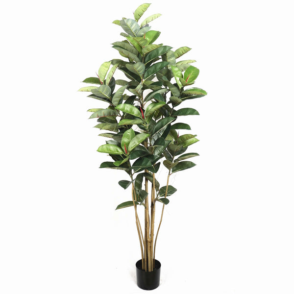 Artificial Potted Oak Tree 180Cm - Lifelike Appearance - Red Flower Buds