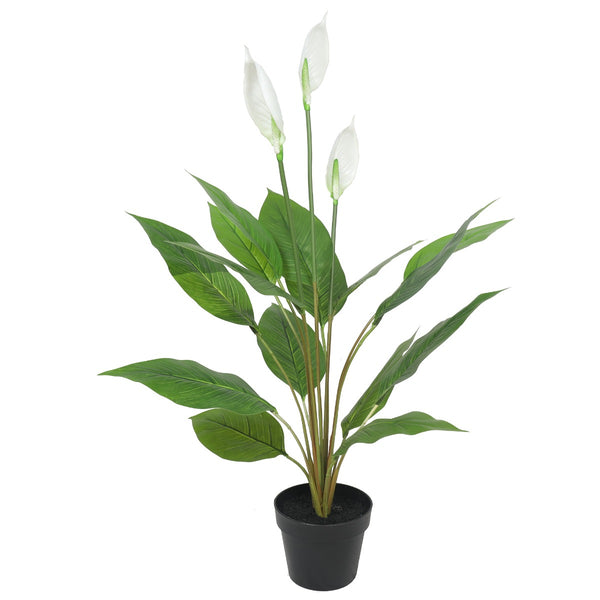 Artificial Flowering White Peace Lily / Calla Lily 95Cm - Lifelike