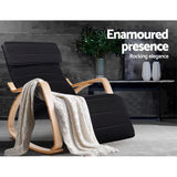 Artiss Fabric Rocking Armchair With Adjustable Footrest - Black - Relaxing