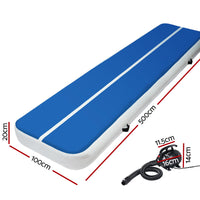Everfit 5X1M Inflatable Air Track Mat 20Cm Thick W Pump Tumbling Gymnastics Blue