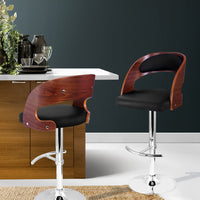 Artiss Wooden Gas Lift  Bar Stools - Black Contemporary & Stylish Sleek Design