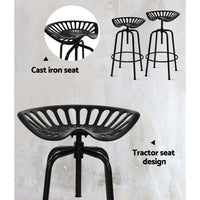 Artiss 1X Kitchen Bar Stool Tractor Chair Industrial Retro Swivel Barstool Black