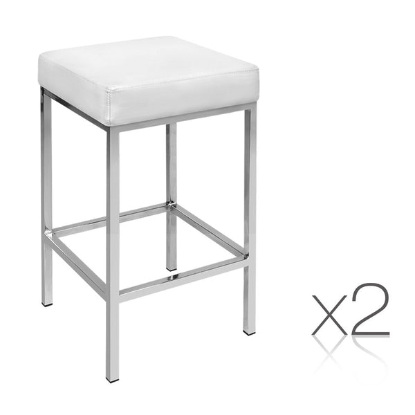 Artiss Set Of 2 Pu Leather Backless Bar Stools - White Pu Leather