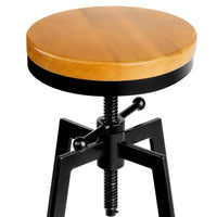 Artiss Adjutable Height Swivel Bar Stool - Black