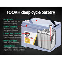 Giantz 100Ah Deep Cycle Battery & Battery Box 12V Agm Marine Sealed Power Solar