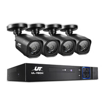 Ul-Tech 8Ch 5 In 1 Dvr Cctv Security System Video Rec 4 Cameras 1080P Hdmi Black