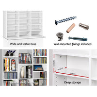 Artiss Adjustable Book Storage Shelf Rack Unit - White Sturdy Base
