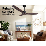 "52"" Fan Remote Control 8H Timer 3 Speeds 3 Wooden Blades"