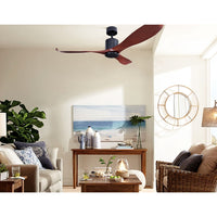 "56"" Dc Motor Ceiling Fan With Remote 8H Timer Reverse Mode 5 Speeds Wooden"