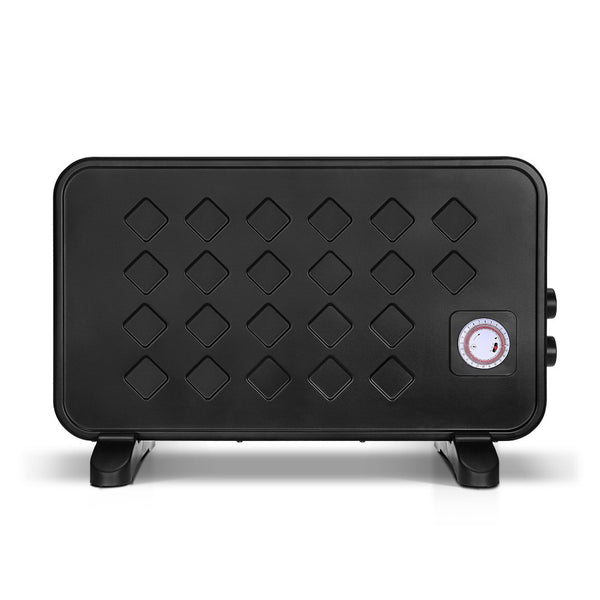 Devanti 2000W Electric Metal Panel Heater Convection Heating Timer Portable Black
