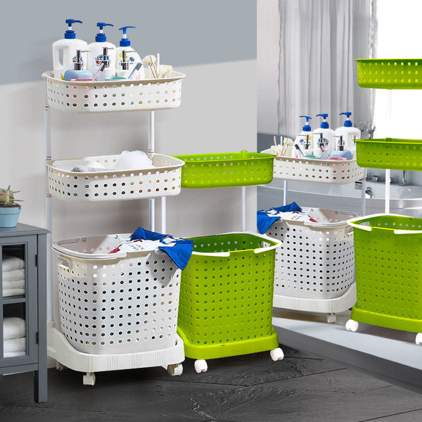 Bathroom Laundry Clothes Baskets Bin Removable Shelf Green