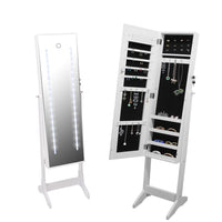Floor Standing Jewellery Cabinet With Led Light Mirror