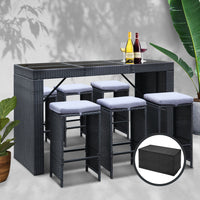 Gardeon 7 Piece Outdoor Dining Table Set - Black