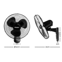 "Devanti 40Cm 16"" Wall Mountable Fan - Black"